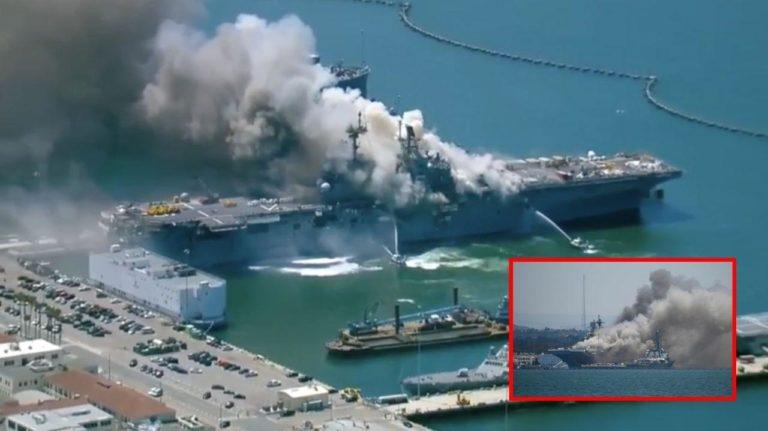 ឆេះសាហាវម្ល៉េះ! នាវាដឹកយន្តហោះចម្បាំងអាមេរិក «USS Bonhomme Richard» ឆេះ៣ថ្ងែហើយ នៅមិនទាន់រលត់ទេ…(មានវីដេអូ)